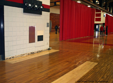 A portion of the Brockton High School gymnasium floor was repaired and refinished after a leaking pipe caused some boards to warp.  Your donations helped us do that.